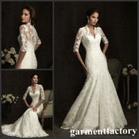 Wholesale Victorian Long Sleeved Wedding Dress V neck Fit and Flare Chapel Train Lace Bridal Wedding Gowns