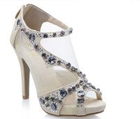 Wholesale 2012 Designer Shoes Nude Crystal Tulle Luxurious Dress Shoes Formal Shoes Sandal HS001 Cheapkingdom