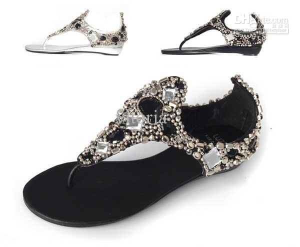 Rome Women Bright Crystal Sandal Wedge Heel Sandals Flip Flops