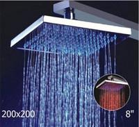 Exposed Contemporary LED Free Shipping+Light Square Top Rain Overhead LED Shower Head Bathroom Bath Glow Three Colors