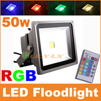 Wholesale 50W RGB LED Floodlight with IR remote controller Color Changing AC85 V Waterproof for Outdoor