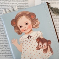 Wholesale Korea style Doll design PU leather color pen bag amp Pouch Storage bag FreeShipping