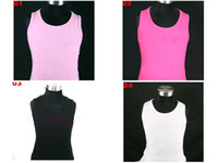 Wholesale girls plain white pink black hot pink pettiskirts tops sleeveless t shirts tank tops