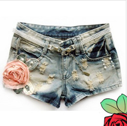 Wholesale Fashion Europe Style Flower Pockets Shorts Denim Joker Shitsuke Hot Pants Bore S XL Blue Low Waist