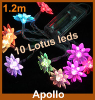 Wholesale 1 m Lotus Flower LED String Light Battery Operated Xmas Party Wedding Holiday Christmas Flash Portable Fairy Lights