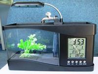 Wholesale USB Power Desktop Mini Fish Tank Aquarium LED Light Lamp Pen Holder Digital Alarm Clock