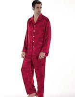 Men Pajamas Sets Regular 2013 NWT silk pajama sets for men 2 piece rose red shirt print night-robe sleep gown robe set 0011