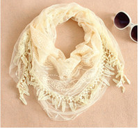Wholesale 2012 Lace triangle scarf fashion shawl fringed scarves woman amp lady color orange pink