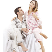 Regular Chiffon Sexy NWT silk pajama sets for men 2 piece white shirt long sleeve night-robe sleep gown robe set 6035