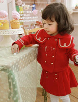 Girl 2-7 year old  90,100,110,120,130  Children's autumn winter girls red overcoat outwear + Skirt 2 piece suits Christmas clothes 5set lot