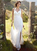 Wholesale 2012 new custom made Chiffon Gown with High Slit and Halter Tie Back Style