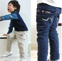 Wholesale 2012 NEW HOT SALE Children s trousers baby boys cotton Satin Embroidery labeling pants