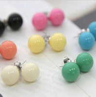 Wholesale Lovely candy colors ear hammer Acrylic bead earrings candy earrings pairs can mix