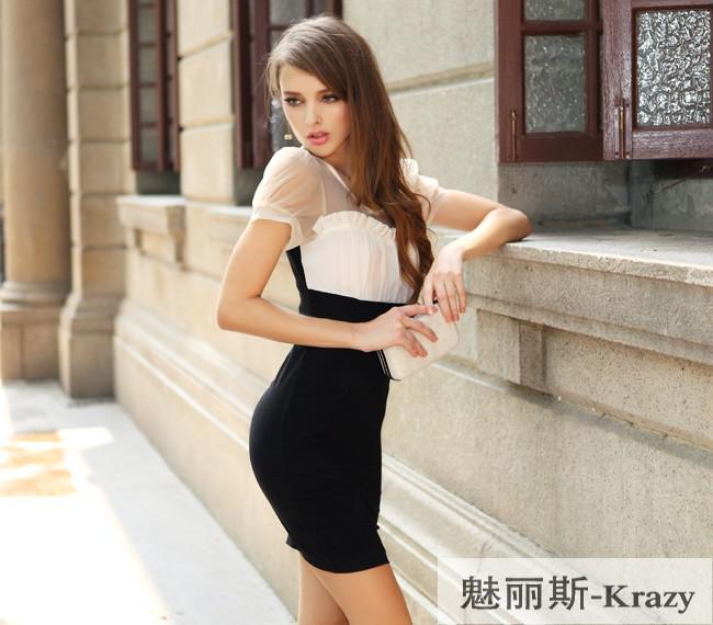 Women s Clothing black white dress Short sleeve skirt of tall waist