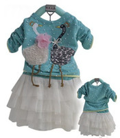 Girl baby sweater designs - Fashion baby toddler girl s design sweater t shirt tops lace cake skirt clothes set for autumn