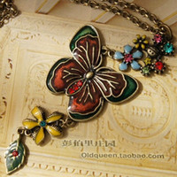 Wholesale 2012 Necklace Butterfly Over Colorful Flowers Vintage Necklace Coat Chain Fashion Agood