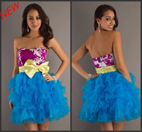 Wholesale 2012 Latest Custom Made Prom Dresses Mini Sweetheart Ribbon Bow Print Ball Gown Sash