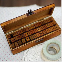 Wholesale 42 set Creative letters and numbers stamp gift box wooden stamp wooden box