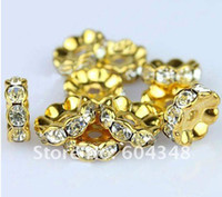 Wholesale 490pcs mm gold plated rondelle wave edge rhinestone crystal spacer beads Clear Beads