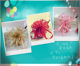 300pcs Pink Gold Red 25cm 32cm Diameter Round Organza Voile Rose Jewelry Wedding Party Gift Bags
