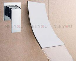 NEW design Bathroom Wall Mounted Waterfall Basin faucet Luxury brass Bath Sink tap NY02761B