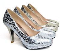 Silver PU Printed Super sexy printing fashion high heeled bride wedding prom shoes evenning party shoe W7