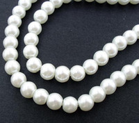 Wholesale Round Glass Pearl Beads WHITE STRAND MM MM MM MM MM