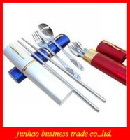 Wholesale Portable Stainless Steel Spoon Fork Folding Chopsticks Tableware Set Foldable Cutlery Tableware
