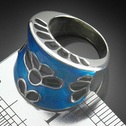 Fashion Jewellry Stainless Ring Blue Hollow Flower Wedge Shape MIX ORDER Women's Rings R007a