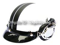 Wholesale H ABS Half Scooter Casco Open Face Motorcycle Matt White Black Stripe Helmet Goggles M L XL