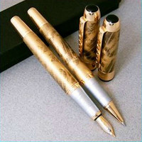 Wholesale 2Pcs JINHAO Golden M Fountain Pen And Roller Ball Pen Abstract Pattern