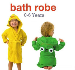 Wholesale Kids Bathrobe Hooded Wholesale - PROMOTION!12pcs baby hooded bathrobe bath towel bath terry.bathing robe for children kids infant