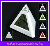 Wholesale Novelty Digital Music Triangle Pyramid Heart Shaped Alarm Clock Thermometer Colorful Lights