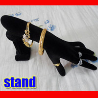 Jewelry Stand wooden hand display - bracelets Rings Hand Display Holder black velve DHKS case holder jewelry showcase