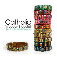 Unisex Wood Beaded, Strands Saints Catholic Christian Jesus Wooden Bracelets Bangle All Colours charm bracelet sale 80pcs
