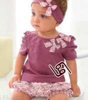 Wholesale new arrival children s sets top Amissa Three pieces Suits handband shirt shorts H072