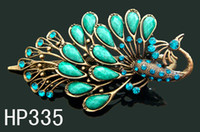 Wholesale Hot sale Women s fashion Hair Jewelry zinc alloy rhinestone peacock hair clips Hair accessory mixed color HP335