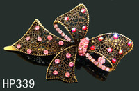 Women's Party Alloy 2012 Hot Sale hair jewelry women rhinestone alloy Butterfly hair clip hair accessories Free shipping 12pcs lot Mixed colors HP339