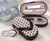 Wholesale 20pcs wedding favor gift Pink Polka Flip Flop Piece Pedicure Manicure Set Women Gifts