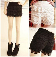 Wholesale Skirt Fashion Womens Sweet Cute Crochet Tiered Lace Shorts Skorts Short Pants