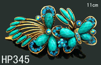 Gift african butterfly clips - Hot sale vintage fashion Hair Jewelry zinc alloy rhinestone Butterfly hair clips hair accessories Mixed colors HP345