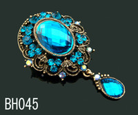 Wholesale hot sell Women Vintage water droplets pendant flower rhinestone brooches jewelry Mixed colors BH045