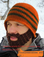 Wholesale Winter manual beard hats Set of head keep warm women and men knitted wool handmade hat Earmuffs cap