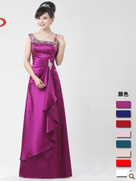 Wholesale 2012 bride wedding dress inclined shoulder long style toast evening dress with diamond