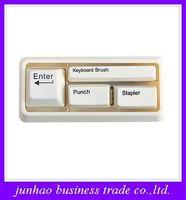 Plier office stationery set - Keyboard Stationery Set Card Puncher Desktop Stapler Keyboard Brush Office Supplies