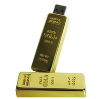 Wholesale Real GB USB Flash Drive Large Gold Bar GB USB Flash Memory Golden Pen Drive USB Disk in retail box