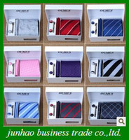 Wholesale Silk Men s Ties Cravat Formal Necktie Men Tie Clip Cufflinks Handkerchief Set