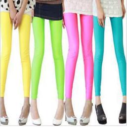 Wholesale Sexy Leggings Candy Color Elastic Fluorescent Slim Tight Trousers Capri Pants Cheap Womens Pants