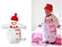 Boy/Girl baby bottle designs - 2017 New style Nissen milk bottle design baby rompers baby s clothing rompers hat set jumpsuit