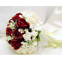 red ribbon rose - In Stock Ready to ship red rose ribbon flower wedding Bridal Bouquet throw handflower